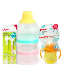 Pigeon - Feeding Spoon Set ,   Powder Milk Container & Mag Mag Spout Cup With Handle Yellow - 200 ml