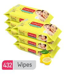 Babyhug Premium Baby Lemon Wipes - 72 Pieces (Pack of 6)