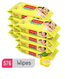 Babyhug Premium Baby Lemon Wipes - 72 Pieces ( Pack of 8 )