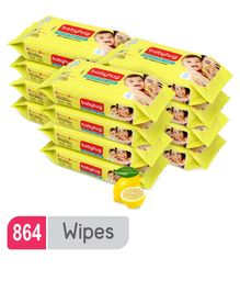 Babyhug Premium Baby Lemon Wipes - 72 Pieces (Pack of 12 )