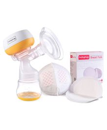 Babyhug Portable 2 in 1 Electric & Manual Breast Pump & 3D Contoured Disposable Breast Pads Combo Pack