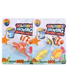 Karma Boing Colored Growing Magic Spinosaurs - Orange & Magic Ocean Fish Set Of 3 - Yellow