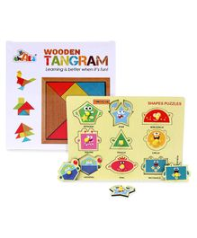 Awals Wooden Tangram Puzzle  - 18 Pieces&Playmate Pegged Shapes Puzzle Multicolor - 9 Pieces