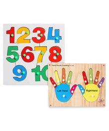 Kinder Creative Wooden Hand Puzzle Counting With Knob Puzzle & Little Genius Number Inset Tray Puzzle 1 to 10 - Multi Color