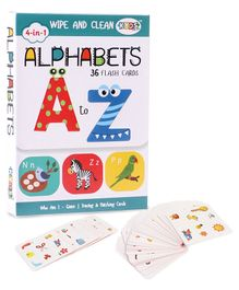 Kyds Play 4 in 1 Flash Cards of Alphabets - 36 Flash Cards & Ratnas Find It First Game Pack of 57 Cards - White