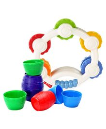 Funskool Stacking Barrels (Color May Vary) & Fisher Price Shake n Beats Tambourine - Multicolour