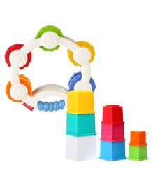 Funskool Giggles Stacking 8 Cubes - Multicolor & Fisher Price Shake n Beats Tambourine - Multicolour