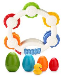 Giggles Nesting Eggs - Multi Color & Fisher Price Shake n Beats Tambourine - Multicolour