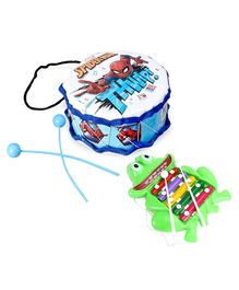 Marvel Spiderman Printed Drum With Sticks - Blue White & Prime Creations Pull Along Frog Xylophone (Color May Vary)