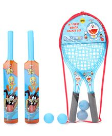 Doraemon Beach Tennis Racket Set (Color May Vary) & Looney Tunes My First Bat & Ball Set of 2 (Color May Vary)