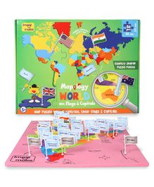 Imagi Make Mapology India With Capitals & World With Flags and Capitals Multicolour