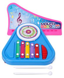 Prime 3 in 1 Drum & Xylophone - Blue & Ratnas Mouth Organ (Color May Vary)