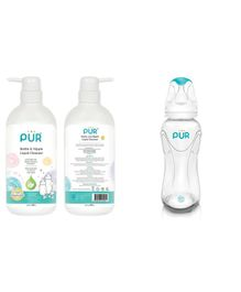 Pur Bottle And Nipple Liquid Cleanser - 500 ml with Slim Neck Feeding Transparent Bottle - 250 ml