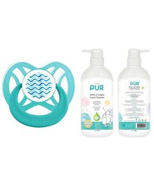 Pur Bottle And Nipple Liquid Cleanser - 500 ml and Ventilated Ortho Silicone Soother - Blue