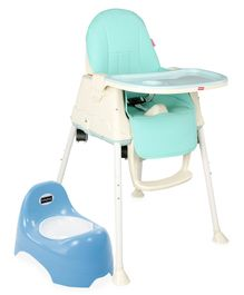 Babyhug Teeny Tiny Potty Chair With Lid  AND Babyhug 3 in 1 Comfy High Chair (Blue)