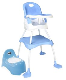 Babyhug Teeny Tiny Potty Chair With Lid  AND Babyhug Urban 4 in 1 High Chair With 3 Point Safety Harness & Anti-Slip Base (Blue)