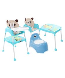 Babyhug Teeny Tiny Potty Chair With Lid  AND Babyhug 3 in 1 Play & Grow High Chair With 5 Point Safety Harness & Anti-Slip Base (Blue)
