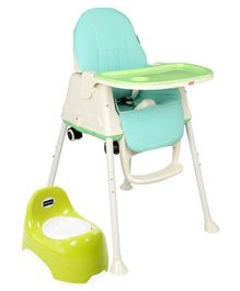 Babyhug Teeny Tiny Potty Chair With Lid  AND Babyhug 3 in 1 Comfy High Chair  (Green)