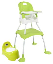 Babyhug Teeny Tiny Potty Chair With Lid  AND Babyhug Urban 4 in 1 High Chair With 3 Point Safety Harness & Anti-Slip Base  (Light Green)
