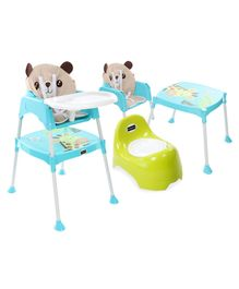 Babyhug Teeny Tiny Potty Chair With Lid - Green AND Babyhug 3 in 1 Play & Grow High Chair With 5 Point Safety Harness & Anti-Slip Base  - Blue