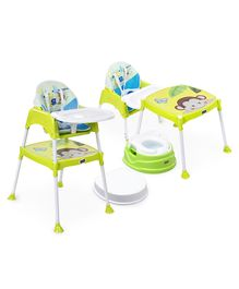 Babyhug Practico 4-in-1 Potty Chair  AND Babyhug 3 in 1 Play & Grow High Chair With 5 Point Safety Harness &  Anti-Slip Base (Green)