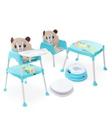 Babyhug Practico 4-in-1 Potty Chair  AND Babyhug 3 in 1 Play & Grow High Chair With 5 Point Safety Harness & Anti-Slip Base  (Blue)