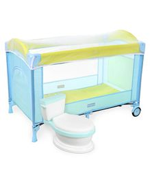 Babyhug My Space Playpen With Removable Mosquito Net - Blue Green AND Babyhug Western Potty Chair - Blue