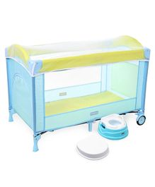Babyhug My Space Playpen With Removable Mosquito Net - Blue Green AND Babyhug Practico 4-in-1 Potty Chair - Blue