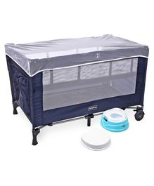 Babyhug Keep Me Close 2 in 1 Playpen Cum Baby Cot With Mosquito Net  - Navy Blue AND Babyhug Practico 4-in-1 Potty Chair - Blue