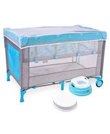 Babyhug Keep Me Close 2 in 1 Playpen Cum Baby Cot With Mosquito Net  - Blue Grey AND Babyhug Practico 4-in-1 Potty Chair - Blue