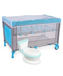 Babyhug Keep Me Close 2 in 1 Playpen Cum Baby Cot With Mosquito Net  - Blue Grey AND Babyhug Western Potty Chair - Blue