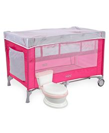 Babyhug Keep Me Close 2 in 1 Playpen Cum Baby Cot With Mosquito Net  - Pink Grey AND Babyhug Western Potty Chair - Pink