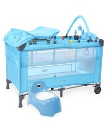 Babyhug Active Baby 3 in 1 Playpen Cum Cot With Diaper Changing Table & Mosquito Net AND Babyhug Teeny Tiny Potty Chair With Lid (Blue)