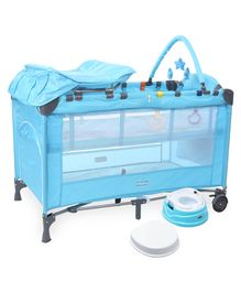 Babyhug Active Baby 3 in 1 Playpen Cum Cot With Diaper Changing Table & Mosquito Net AND Babyhug Practico 4-in-1 Potty Chair (Blue)