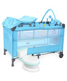 Babyhug Active Baby 3 in 1 Playpen Cum Cot With Diaper Changing Table & Mosquito Net AND Babyhug Western Potty Chair (Blue)