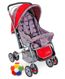 Babyhug Cosy Cosmo Stroller With Reversible Handle & Back Pocket - Bright Red AND Babyhug Soft Ball Medium Multicolor - 52 cm