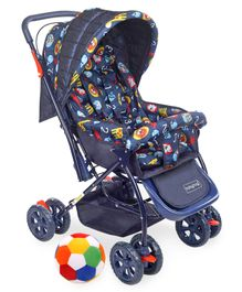 Babyhug Cosy Cosmo Stroller With Reversible Handle & Back Pocket - Navy Blue AND Babyhug Soft Ball Medium Multicolor - 52 cm