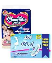 MamyPoko Pant Style Diapers Medium - 114 Pieces & Sofy Cool Extra Long Sanitary Pads - 54 Pieces