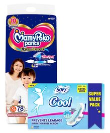 MamyPoko Pant Style Diapers Extra large - 78 Pieces & Sofy Cool Extra Long Sanitary Pads - 54 Pieces