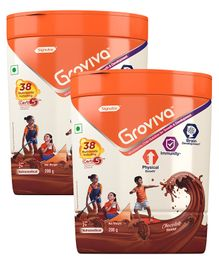 Groviva Child Nutrition Chocolate Flavour Supplement Jar - 200 gm (Pack of 2)