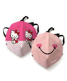 Smiley kids Face Mask with Hello Kitty Print Kids Mask - Pink