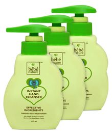 Bebe Nature Instant Hand Cleanser - 250 ml (Pack 0f 3 )