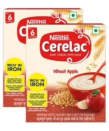 Nestle Cerelac Fortified Baby Cereal With Milk Wheat Apple - From 6 Months 300 gm Bib Pack(Pack of 2)