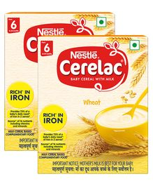Nestle Cerelac Fortified Baby Cereal With Milk Wheat - From 6 Months 300 gm Bib Pack(Pack of 2)