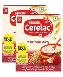 Nestle Cerelac Fortified Baby Cereal With Milk Wheat Apple Cherry -  From 8 Months 300gm Bib Pack(Pack of 2)