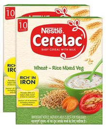 Nestle Cerelac Fortified Baby Cereal With Milk Wheat-Rice Mixed Veg - From 10 Months 300 gm Bib Pack(Pack of 2)