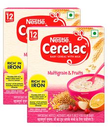 Nestle Cerelac Fortified Baby Cereal With Milk Multi Grain & Fruits - 300 gm Bib Pack(Pack of 2)