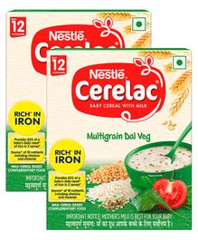 Nestle Cerelac Fortified Baby Cereal With Milk Multi Grain Dal Veg From 12 Months 300gm Bib Pack(Pack of 2)