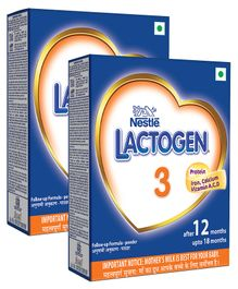 Nestle Lactogen 3 Follow-Up Formula Powder After 12 Months Stage 3 400 gm Bib Pack(Pack of 2)