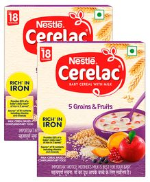 Nestle Cerelac Fortified Baby Cereal with Milk 5 Grains & Fruits - From 18 to 24 Months 300gm Bib Pack(Pack of 2)